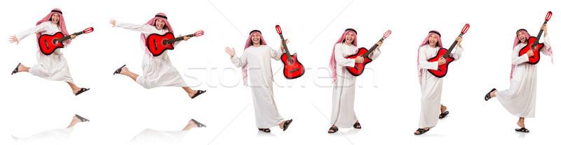 Arab uomo giocare chitarra isolato bianco Foto d'archivio © Elnur