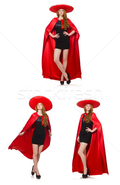 Mexicaanse vrouw Rood kleding witte gelukkig Stockfoto © Elnur
