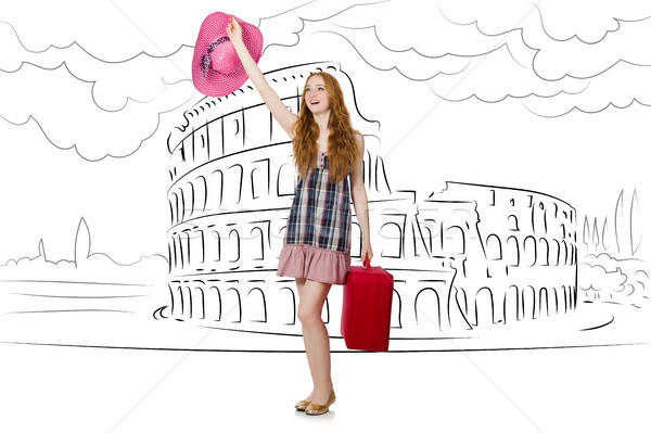 Genç kadın seyahat Roma İtalya kız mutlu Stok fotoğraf © Elnur