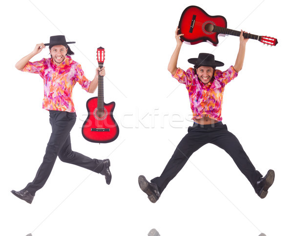 Man with guitar isolated on white Stock photo © Elnur