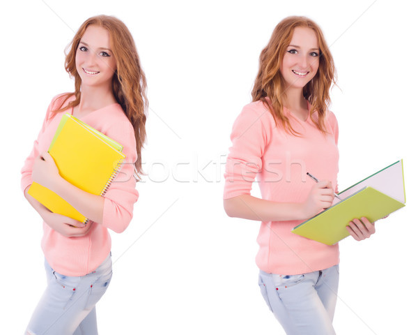 Young student with notebooks isolated on white Stock photo © Elnur