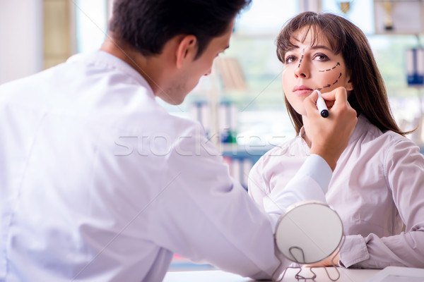 Plastic surgeon preparing for operation on woman face Stock photo © Elnur