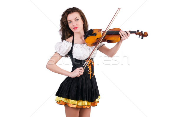 Young woman playing violin on white Stock photo © Elnur