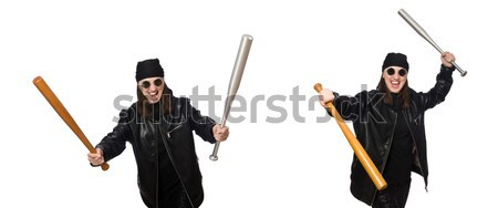 Young woman gangster with gun on white Stock photo © Elnur
