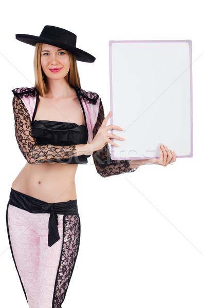 Female toreador with blank board Stock photo © Elnur