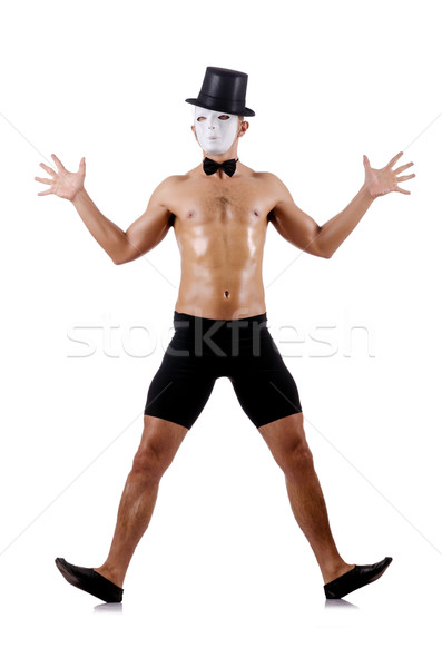 Naked muscular mime isolated on white Stock photo © Elnur