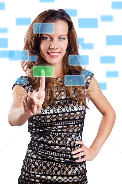 Woman pressing virtual buttons on white Stock photo © Elnur