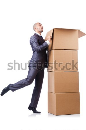Man with axe and boxes on white Stock photo © Elnur