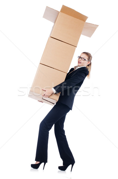 Businesswoman with boxes isolated on white Stock photo © Elnur
