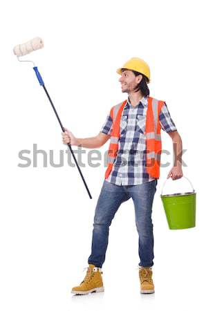 Painter with roller isolated on the white Stock photo © Elnur