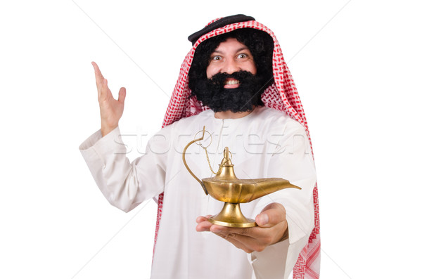 Funny arab man with lamp  isolated on white Stock photo © Elnur