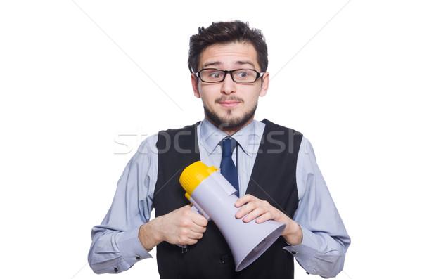 Jeunes affaires haut-parleur blanche affaires homme Photo stock © Elnur