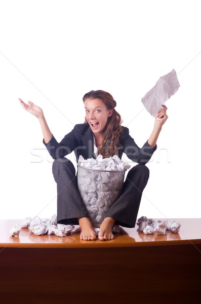 Woman with lots of discarded paper Stock photo © Elnur