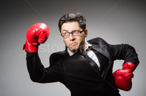 Funny boxer businessman in sport concept Stock photo © Elnur