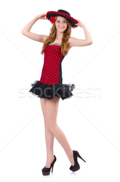 Jeunes fille à pois robe sombrero Photo stock © Elnur