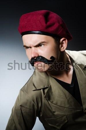 Foto stock: Funny · soldado · militar · mano · hombre · verde