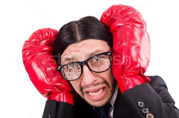 Businessman boxer isolated on the white Stock photo © Elnur