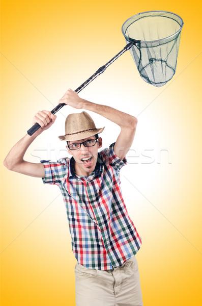 Jardineiro com isolado branco mão sorrir Foto stock © Elnur