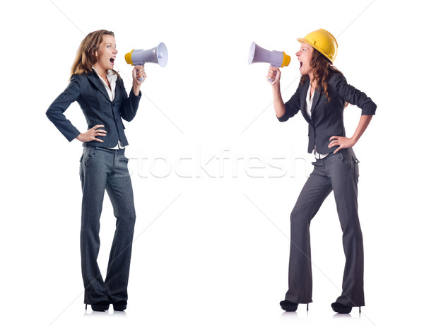 Businessladies with loudspeakers isolated on white Stock photo © Elnur
