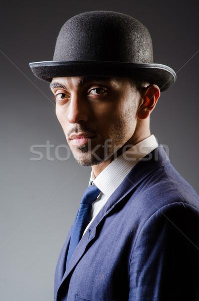 Adam şapka bağbozumu çalışmak öğrenci arka plan Stok fotoğraf © Elnur
