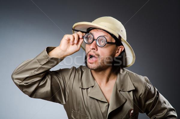Vicces szafari vadász háttér fegyver személy Stock fotó © Elnur
