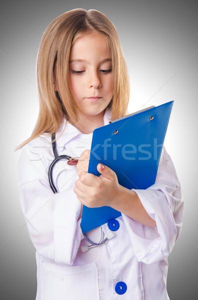 Stockfoto: Meisje · arts · kostuum · achtergrond · geneeskunde · leuk