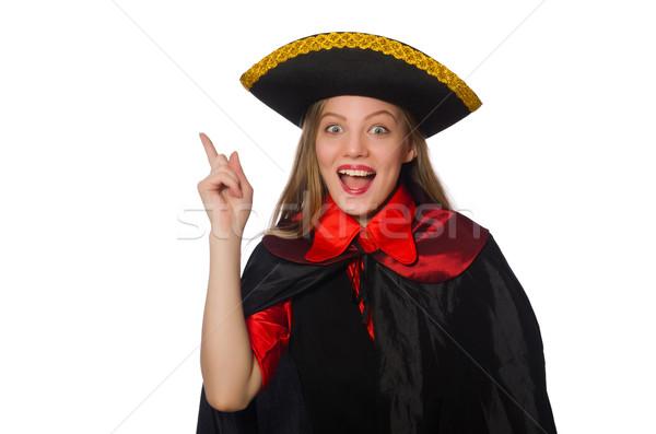 Stockfoto: Mooie · meisje · carnaval · kleding · geïsoleerd · witte