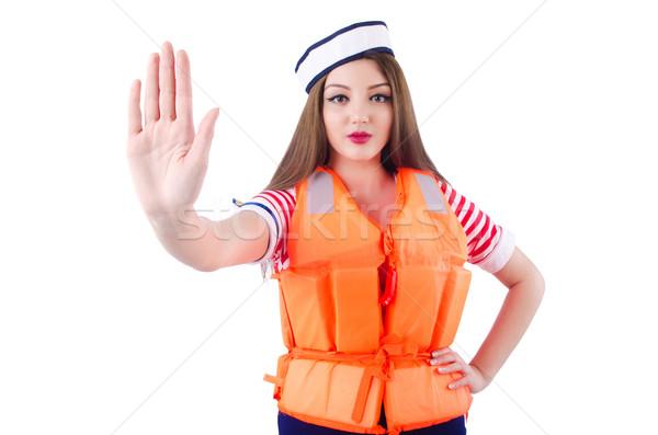 Woman with orange vest isolated on white Stock photo © Elnur
