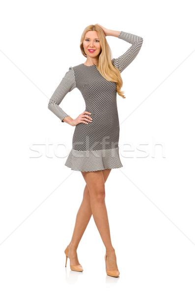 Blond fille à pois robe isolé blanche Photo stock © Elnur