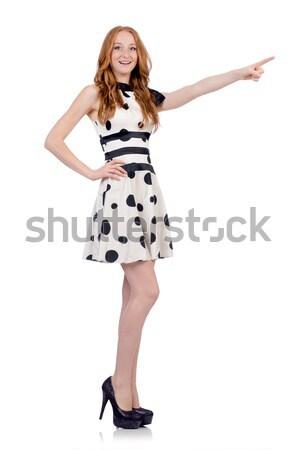 красивая девушка золото черное платье изолированный белый девушки Сток-фото © Elnur