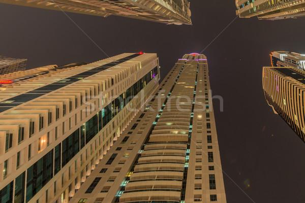 Gratte-ciel Dubaï nuit bâtiment ville construction Photo stock © Elnur