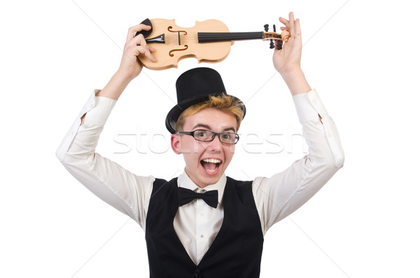 Funny violin player isolated on white Stock photo © Elnur