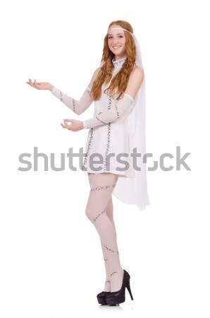 Pretty lady in light charming dress isolated on white Stock photo © Elnur