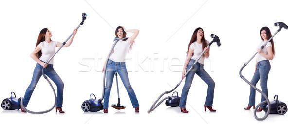 Kolaj kadın temizlik elektrikli süpürge ev kız Stok fotoğraf © Elnur