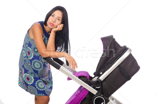 Happy mom with her baby in pram  Stock photo © Elnur