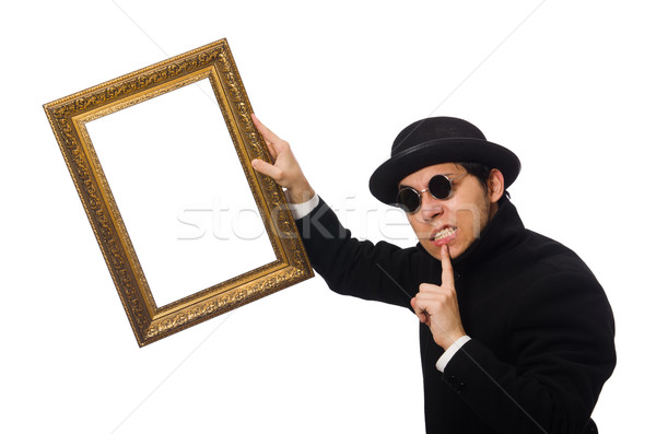 Young man holding frame isolated on white Stock photo © Elnur