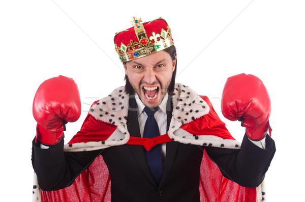 Koning zakenman grappig geïsoleerd witte werk Stockfoto © Elnur