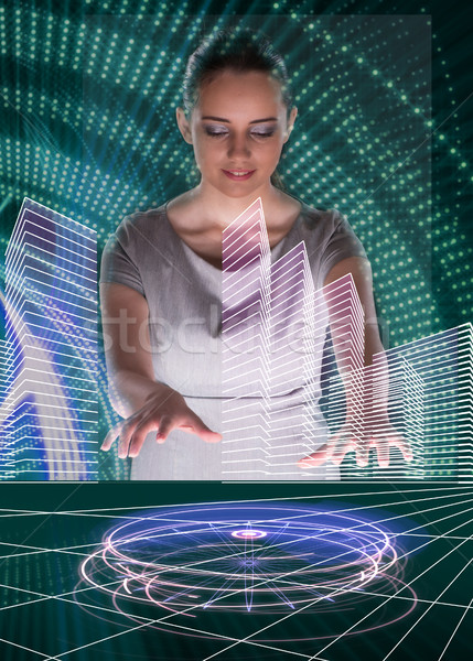 The woman dj in futurisctic concept Stock photo © Elnur