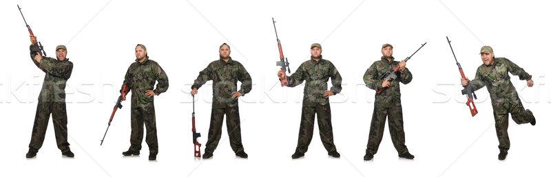 兵士 狙撃兵 ライフル 孤立した 白 男 ストックフォト © Elnur