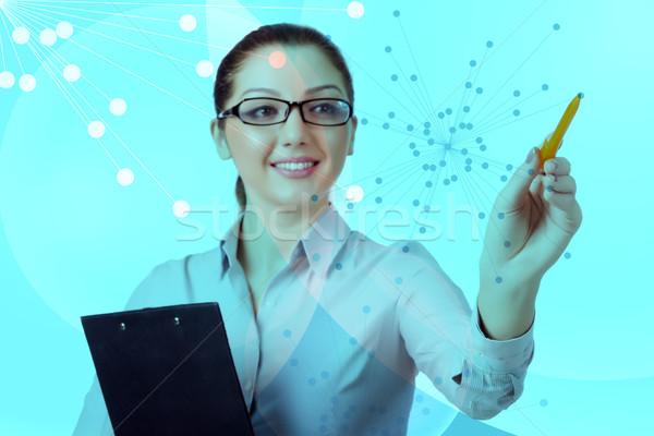 Stock fotó: üzletasszony · kisajtolás · virtuális · gombok · futurisztikus · számítógép