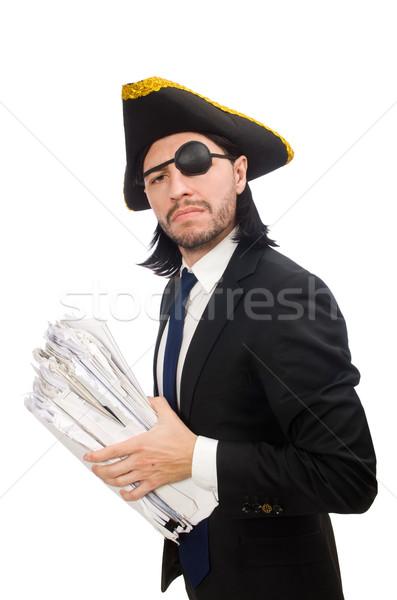пиратских бизнесмен молота изолированный белый Сток-фото © Elnur