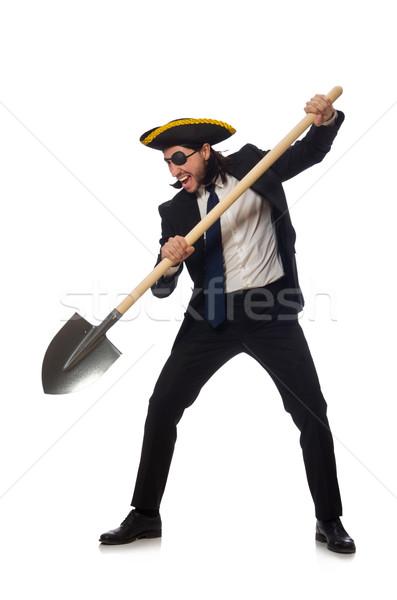 пиратских бизнесмен лопата изолированный белый Сток-фото © Elnur