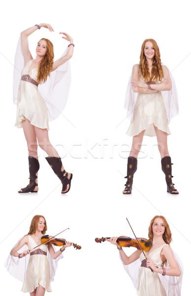 Kadın keman yalıtılmış beyaz sanat konser Stok fotoğraf © Elnur