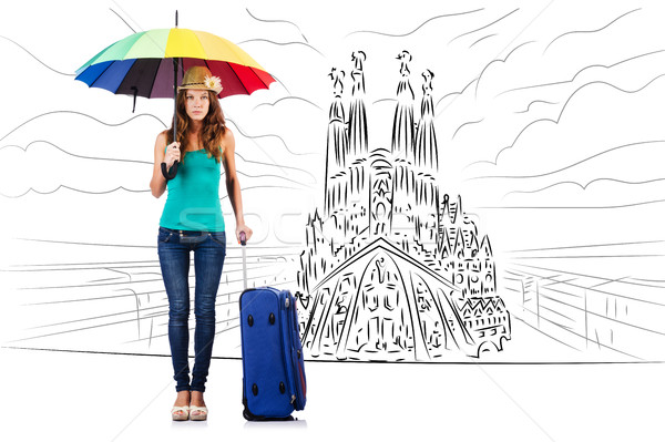 Young woman travelling to Spain to see Sagrada Familia Stock photo © Elnur