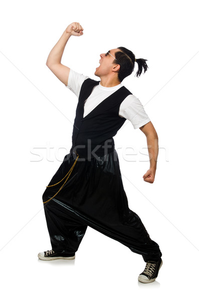 Funny young man dancing isolated on white Stock photo © Elnur