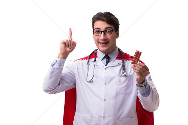 Szuperhős orvos izolált fehér orvosi drogok Stock fotó © Elnur