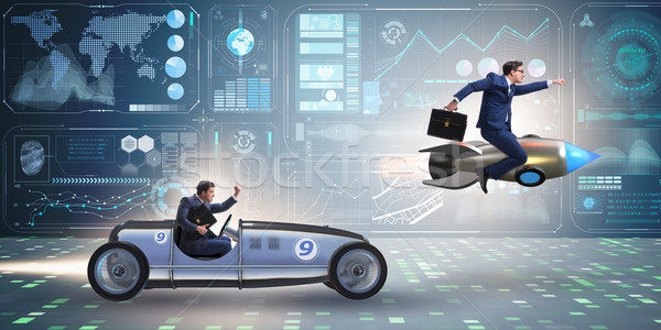 Verseny üzletemberek versenyző üzletember sebesség vicces Stock fotó © Elnur