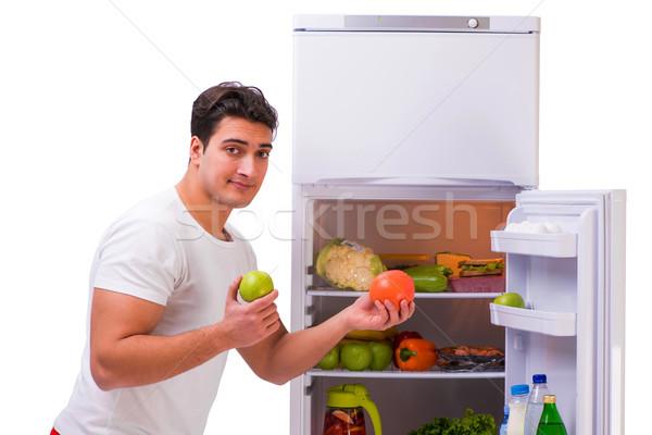 Człowiek lodówka pełny żywności domu szczęśliwy Zdjęcia stock © Elnur