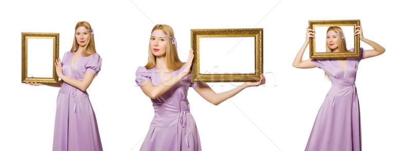 Vrouw fotolijstje witte mode schoonheid leuk Stockfoto © Elnur