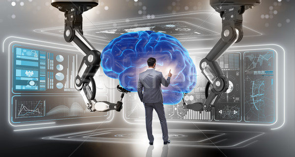 Artificial intelligence concept with businessman Stock photo © Elnur